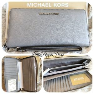 MICHAEL KORS JST CONTINENTAL WALLET LEATHER GREY
